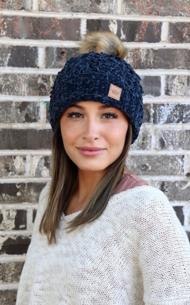 Chilly Nights Chenille Knit Fur Pom Beanie Hat: Navy