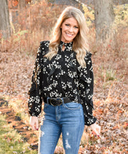 Lazy Daisy Button Down Ruffled Blouse