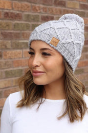 Chilly Nights Cable Knit Fur Pom Beanie Hat: Heather Gray