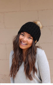 Chilly Nights Cable Knit Fur Pom Beanie Hat: Black
