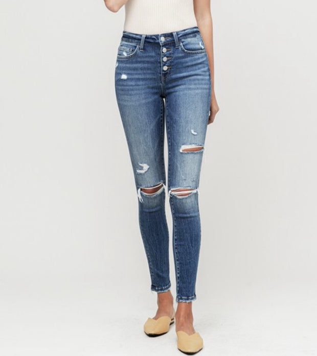 Amber Destroyed Mid Rise Skinny Jeans