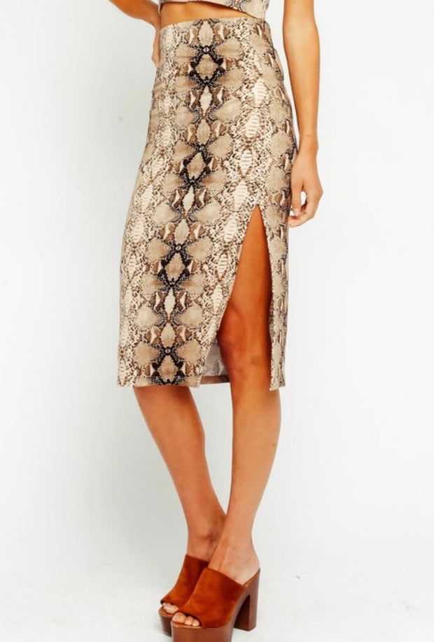 Slither Into My Heart High Waisted Midi Skirt