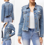 Going Places Distressed Denim Jacket: Light Wash