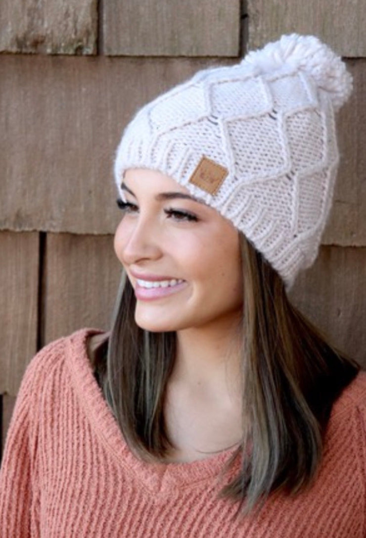 Chilly Nights Cable Knit Fur Pom Beanie Hat: Blush
