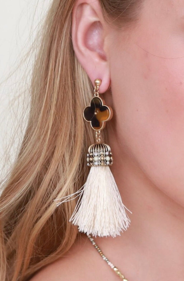 Feeling Lucky Clover Tassel Earrings