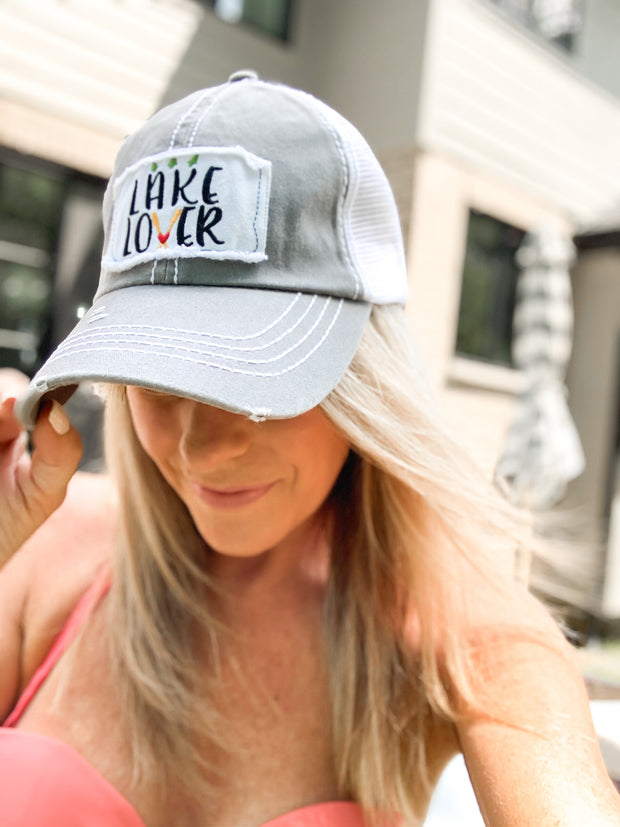 Lake Lover Baseball Truckers Hat: Gray