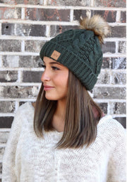 Chilly Nights Cable Knit Fur Pom Beanie Hat: Olive