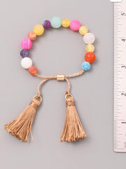 What A Colorful World Beaded Tassel Pull Tie Bracelet