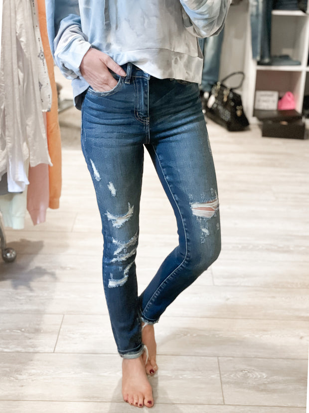 Haylie Destroyed High Rise Skinny Jeans