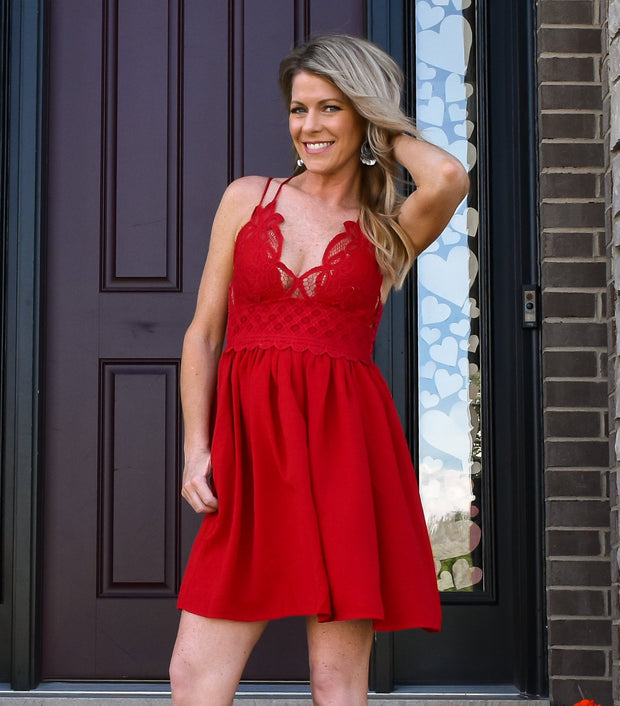 Simply Sweet Lace Bralette Dress: Red