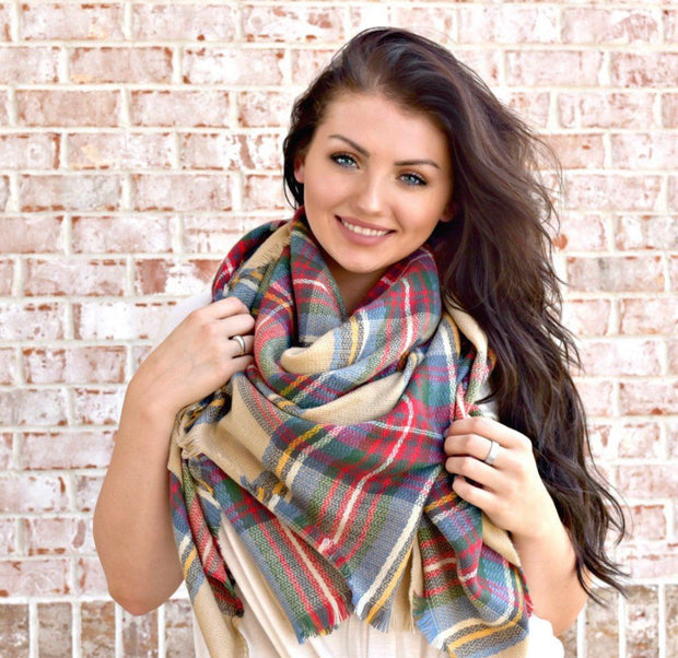 That's A Wrap Plaid Blanket Scarf: Burgundy/Taupe