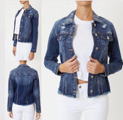 Going Places Distressed Denim Jacket: Medium Wash