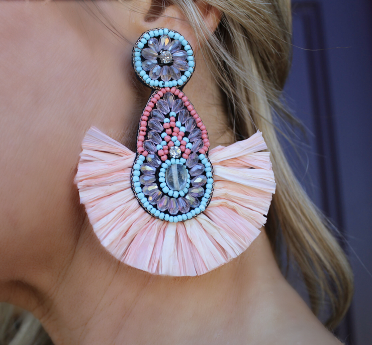 Swept Away Statement Earrings: Coral