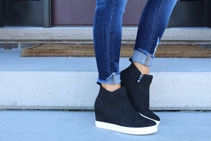 Walk In My Shoes Faux Suede Wedge Sneakers: Black
