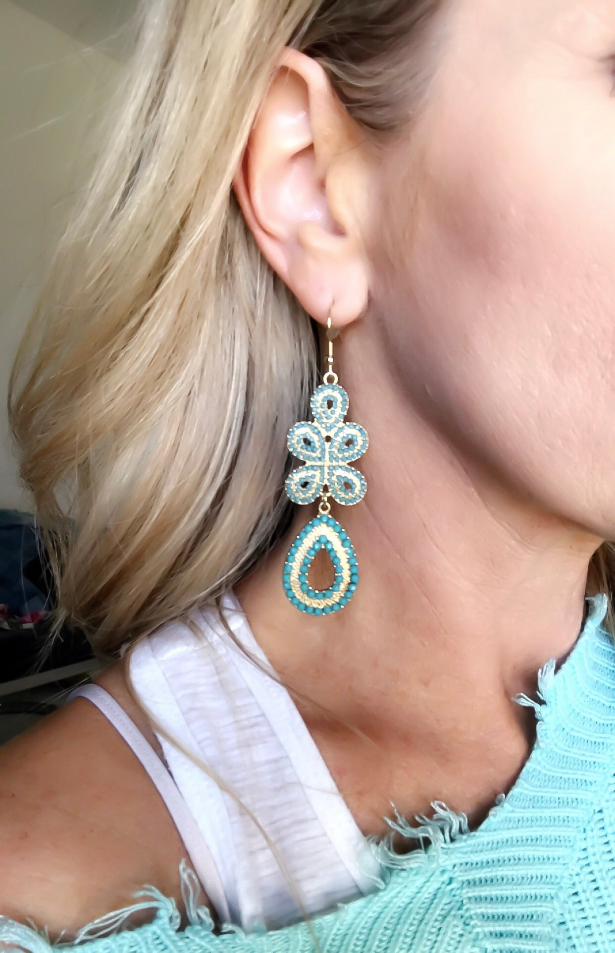 Turquoise Beaded Statement Earrings