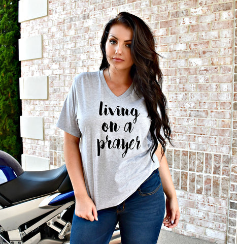 Living On A Prayer V-Neck Tee: Gray