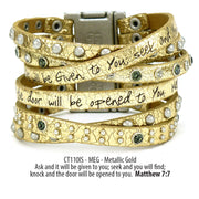 Come Together Scripture Leather Wrap Cuff Bracelets: Metallic