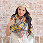 That's A Wrap Plaid Blanket Scarf: Orange/Gold