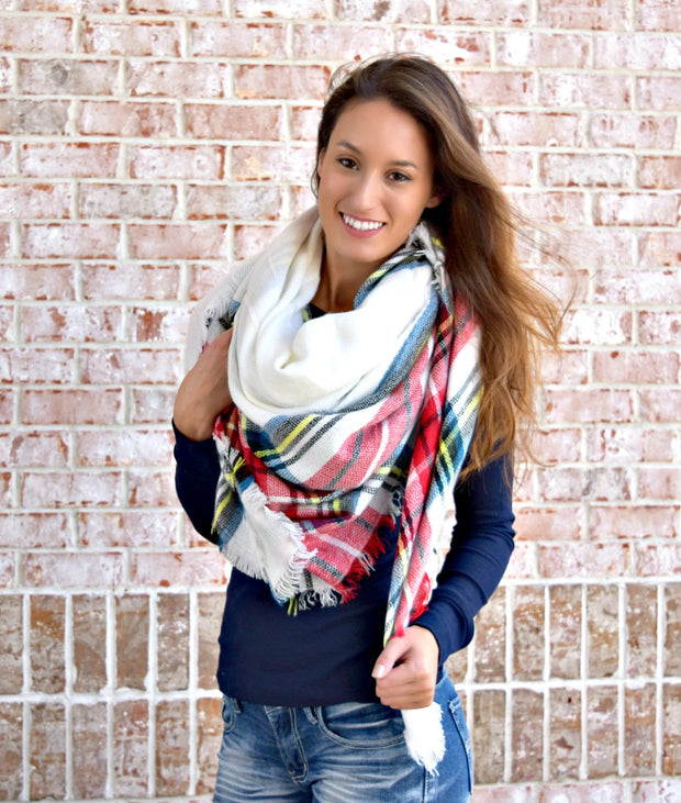 That's A Wrap Plaid Blanket Scarf: Red/White