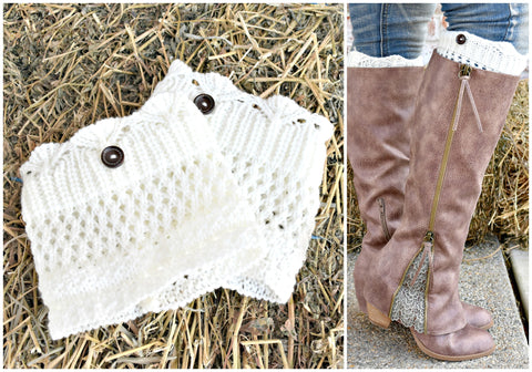 Top Of The World Crochet Boot Cuffs: Ivory