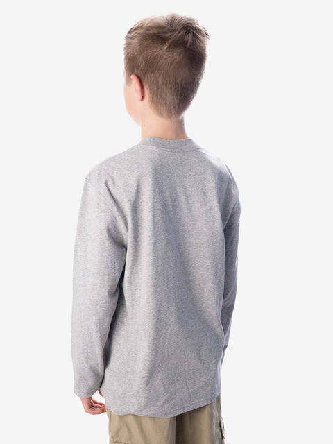 Back View - Boys' Insect Shield UPF Dri-Balance Long Sleeve T-Shirt, Heather Grey