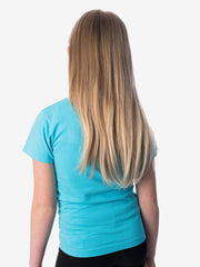 Back View - Girls' Insect Shield Short Sleeve T-Shirt, Aqua