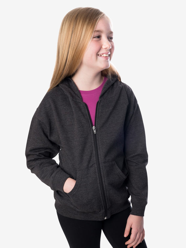 Girls' Insect Shield Zip Hoody, Charcoal Heather