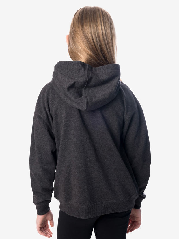 Back View - Girls' Insect Shield Zip Hoody, Charcoal Heather