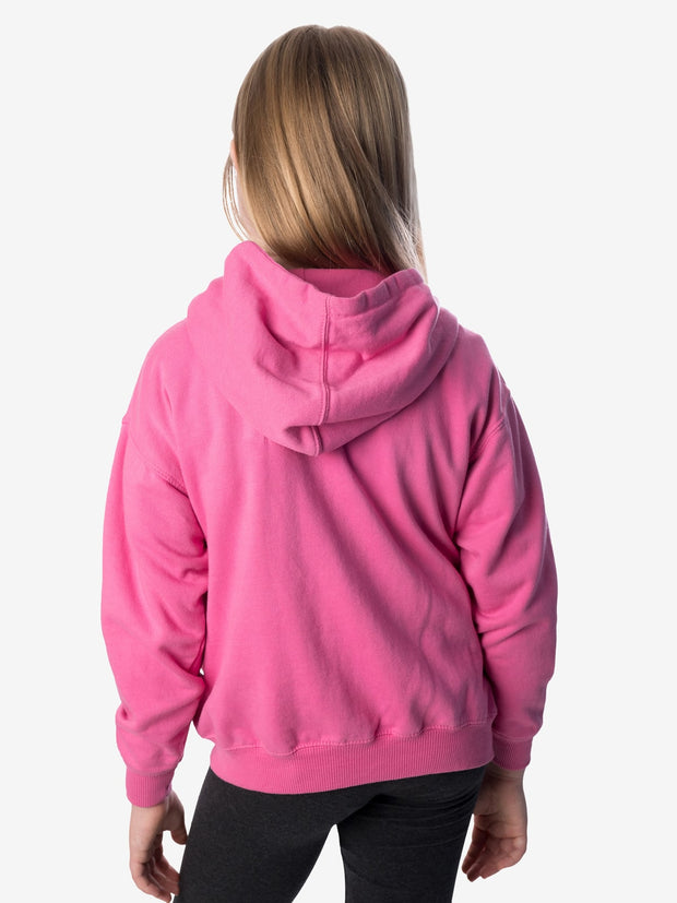 Back View - Girls' Insect Shield Zip Hoody, Raspberry