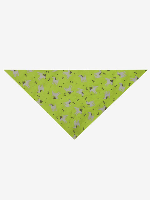 Folded Triangle Dogs & Bones Bandana, Green