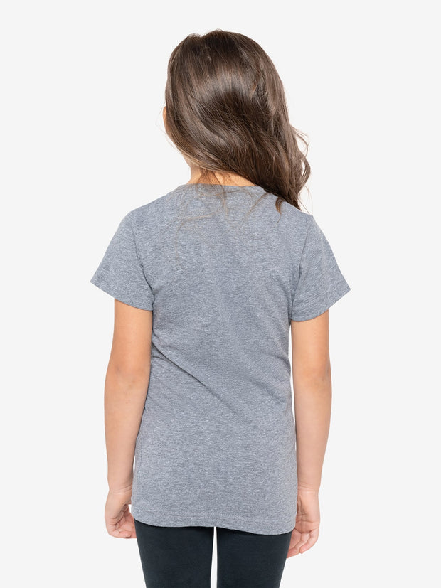 Back View - Girls' Insect Shield Short Sleeve T-Shirt, Granite Heather