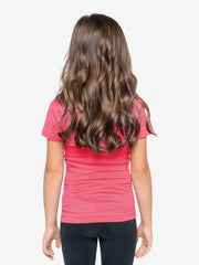 Back View - Girls' Insect Shield Short Sleeve T-Shirt, Raspberry