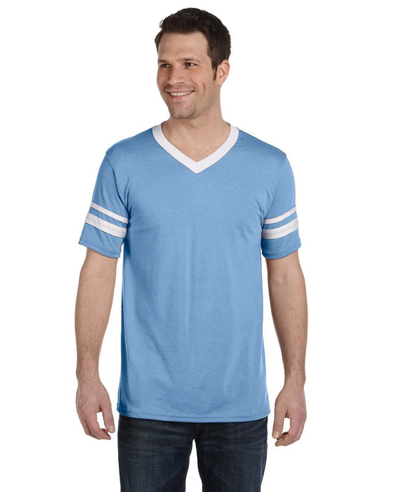 Sleeve Striped 50/50 Jersey V-Neck T-shirt
