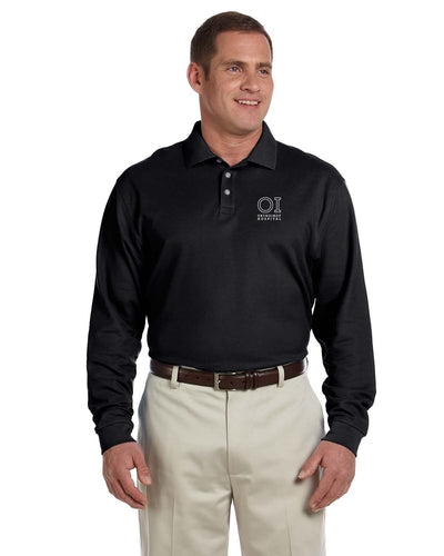 Mens Pima Piqu Cotton Long Sleeve Polo - OrthoIndy