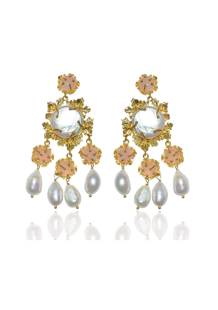 Pearl statement bridal earrings
