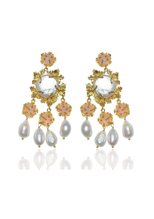 Load image into Gallery viewer, Pearl statement bridal earrings