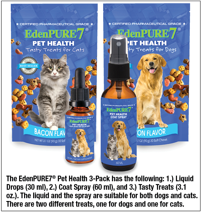 EdenPURE7® Pet Health 3-Pack combo, includes 1 for Cats and 1 for Dogs