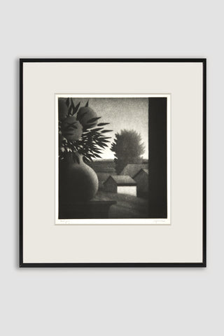 Vase and Landscape Mezzotint <br/>by Robert Kipniss