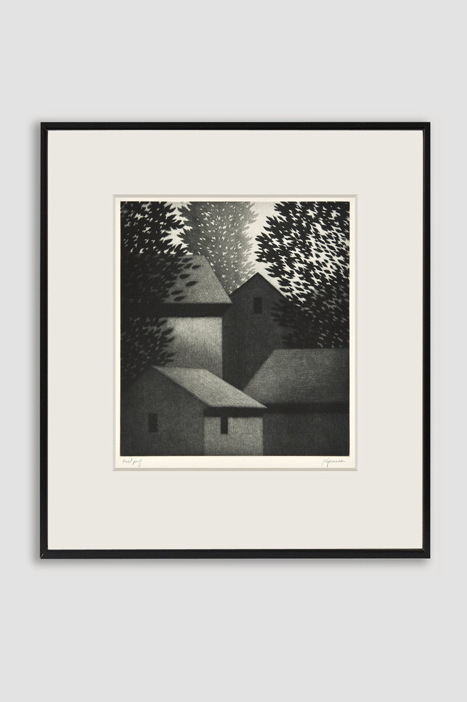Four Houses Mezzotint <br/>by Robert Kipniss