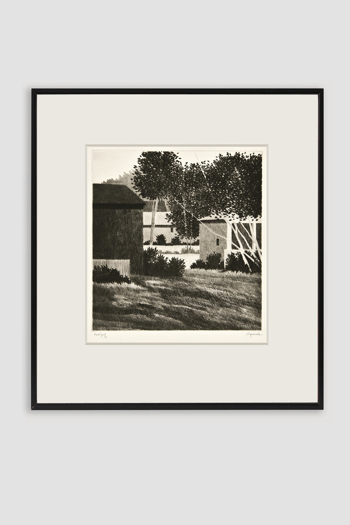 Backyard, Sharon 1992 Drypoint by Robert Kipniss sold by the modern archive