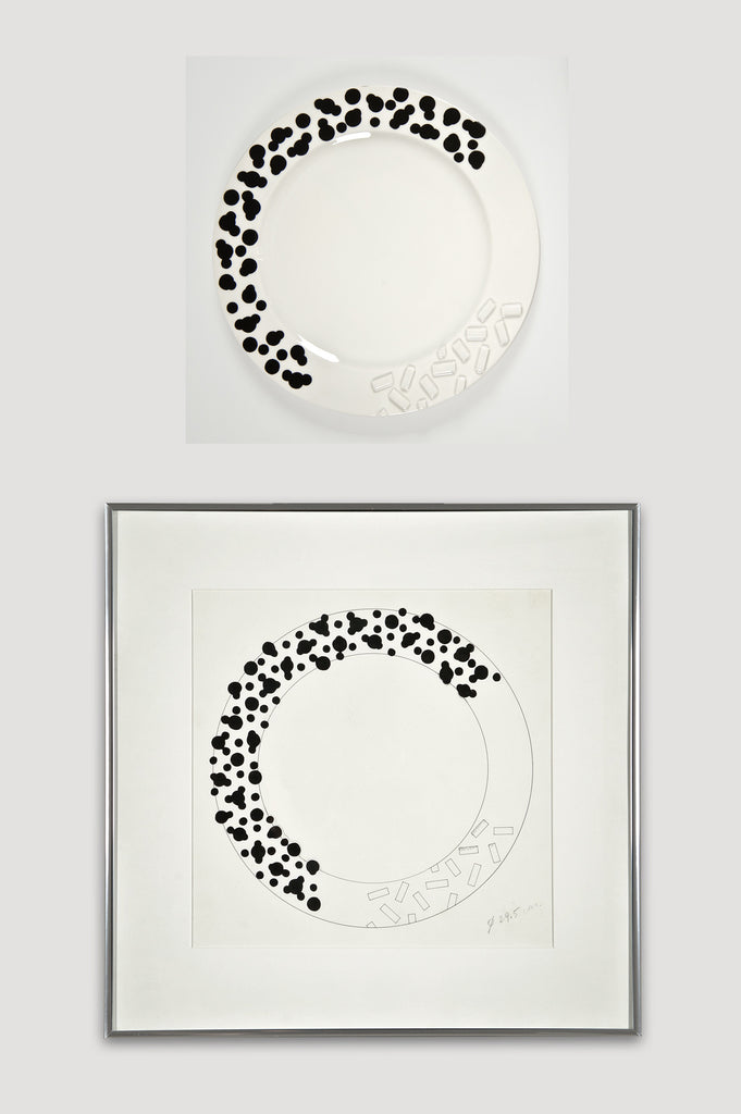 Collectors Set: Rucola Plates and Drawing by Ettore Sottsass for Bloomingdale's and Memphis sold by the modern archive
