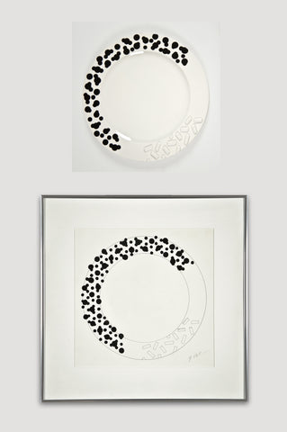Collectors Set: Rucola Plates and Drawing <br/> by Ettore Sottsass for Bloomingdale's