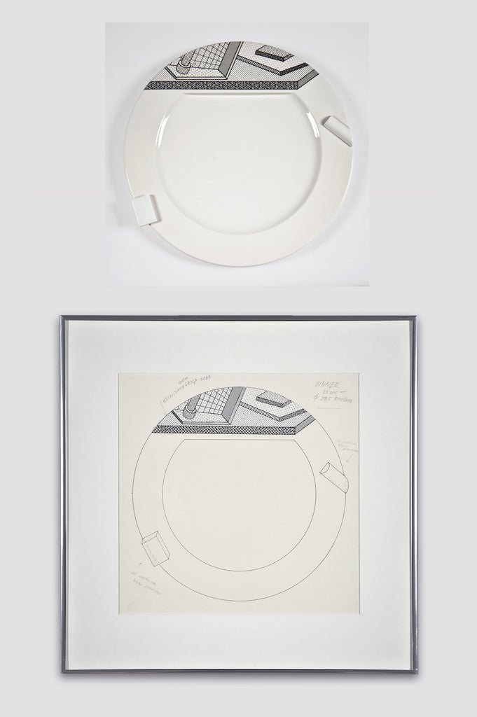 Collectors Set: Lettuce Plate and Drawing by Ettore Sottsass for Bloomingdale's and Memphis sold by the modern archive