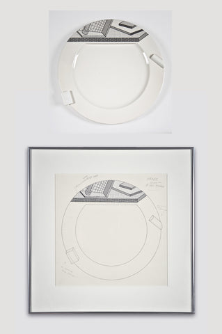 Collectors Set: Lettuce Plate and Drawing <br/> by Ettore Sottsass for Bloomingdale's