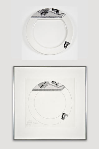 Collectors Set: Indivia Plate and Drawing <br/> by Ettore Sottsass for Bloomingdale's