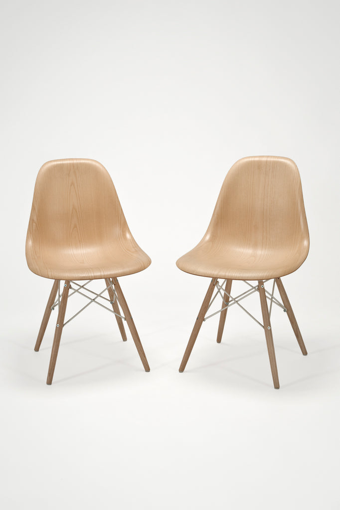 Pair of Molded Plywood Dowel-Leg Side Chairs (DSW by Charles and Ray Eames for Herman Miller