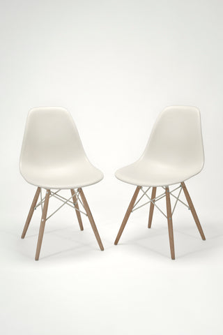 Pair of Molded Plastic Dowel-Leg Side Chairs (DSW)<br/> by Charles and Ray Eames for Herman Miller