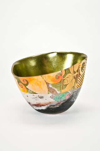 Hand-Painted and Gilded Vessel (#1911) <br/> by Bennett Bean