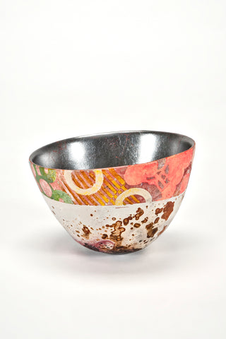 Hand-Painted Vessel with Silver Leaf (#1912)<br/>by Bennett Bean