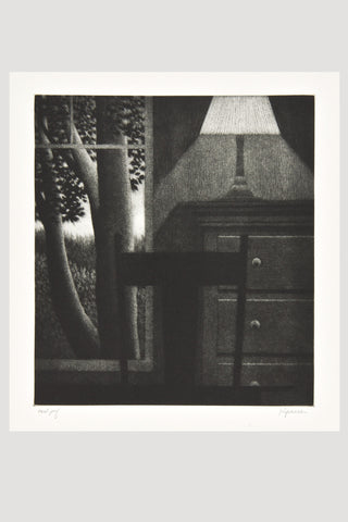 Window with Lamp <br/>Mezzotint by Robert Kipniss